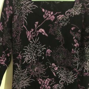 Joseph A sweater. Black w/ purple flower pattern.